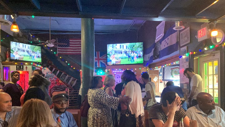 Debate watchers gather at Haydee's Restaurant in Mt. Pleasant for a party hosted by the D.C. Democratic Party in conjunction with the D.C. Latino Caucus.