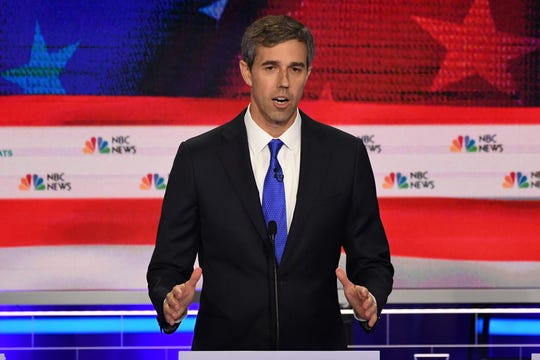 Former Representative for Texas Beto O'Rourke participates in the first Democratic primary debate in Miami on June 26, 2019.