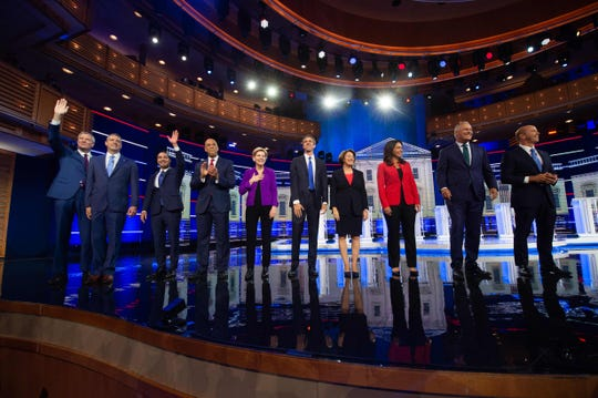 Democratic presidential hopefuls participate in the first Democratic primary debate of the 2020 presidential campaign season in Miami, Florida, June 26, 2019.
