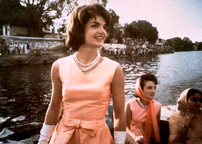 A Martha's Vineyard estate purchased in 1970 by Jacqueline Kennedy Onassis, seen here as first lady Jacqueline Kennedy in 1962, is on the market with a list price of $65 million.