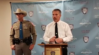 Abilene Police Chief Stan Standridge, right, and DPS Trooper Casey Smith discuss on June 28, 2019, arrests of 13 in online child sex sting operation.