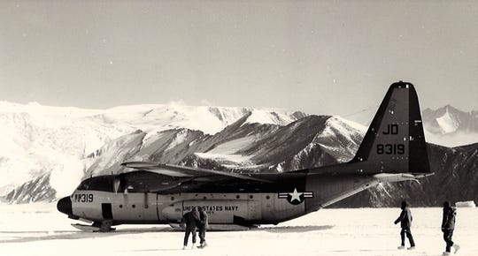 a photo of an Air Force plane in Antarctica in 1977. Dr. Carl Trusler served there while in the Navy.