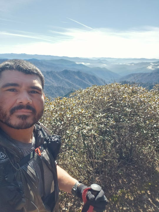 "Ronald ""Ron"" Sanchez Jr., a U.S. Army veteran and Appalachian Trail thru-hiker, sent this selfie from the trail in the Great Smoky Mountains to his girlfriend, Brenda Kelley, not long before he was murdered by a knife-wielding man from Massachusetts on the trail."