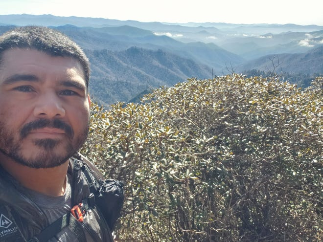 """Ronald """"Ron"""" Sanchez Jr., a U.S. Army veteran and Appalachian Trail thru-hiker, sent this selfie from the trail in the Great Smoky Mountains to his girlfriend, Brenda Kelley, not long before he was murdered by a knife-wielding man from Massachusetts on the trail."""