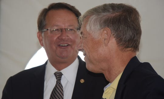 Democratic U.S. Senator Gary Peters, left, and Republican Congressman Fred Upton, who were in Battle Creek in 2016, support Fort Custer for a missile defense site.