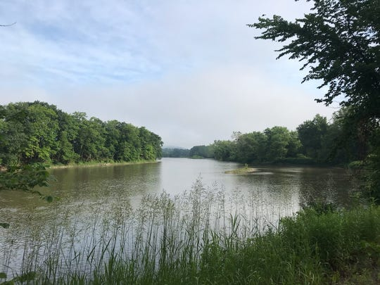A view of the Chenango River along Route 369, near where police say a kayaker died Thursday, June 28, 2019.