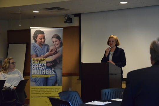 "State Sen. Christine Rolfes, D-Bainbridge Island, speaks at a ""Baby Brunch"" celebrating the Nurse-Family Partnership Program and other efforts to improve the outcomes for first-time moms who face income and education challenges."