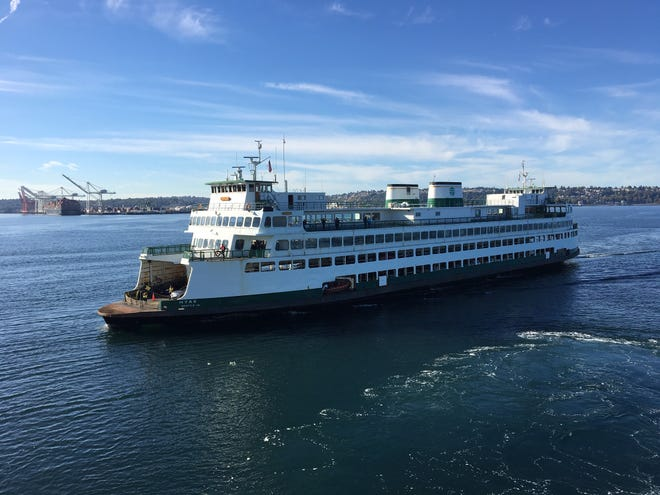 The ferry Hyak sails into Colman Dock.