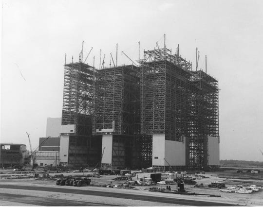 The Vehicle Assembly Building under construction in the early 1960s.