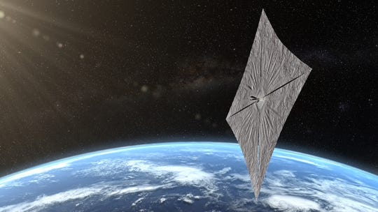 Artist's concept of LightSail 2 above Earth