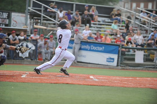 Chris Eisel swings at a pitch in a doubleheader against Champion City on June 27. The Paints defeated Terre Haute 9-5 at home on Saturday.