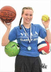 Villa Madonna Academy 2019 graduate Brooke Meier with all of her sports balls