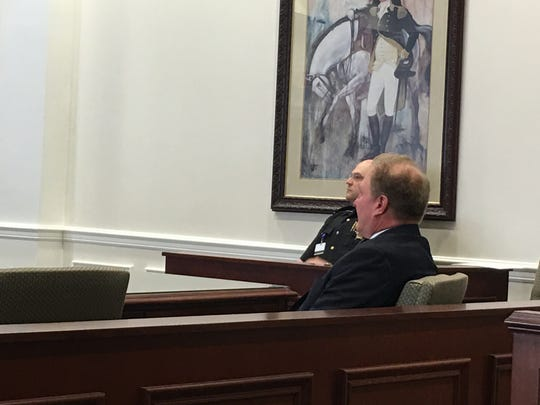 Clermont County Engineer Pat Manger in a Clermont County Court of Common Pleas courtroom.