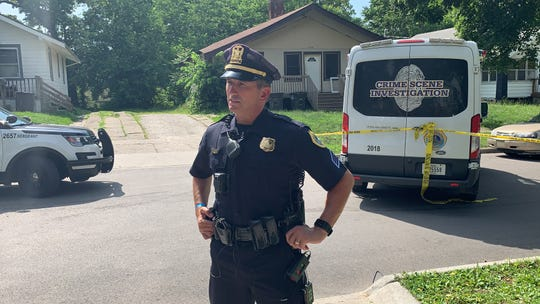 Des Moines police Sgt. Paul Parizek speaks with reporters about a homicide investigation Friday, June 28, 2019 in the 1700 block of 22nd Street on the city's north side. Two people were shot and one was killed, police say.