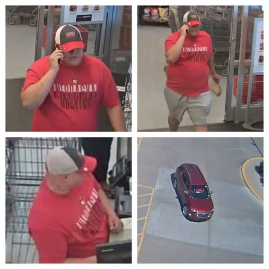 Still of surveillance photos in Urbandale show a person of interest, along with the car he drove, in a burglary and fraud case.