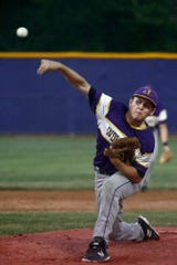 Indianola junior Will Young pitches against Dallas Center-Grimes. Indianola lost at home to Dallas Center-Grimes 8-2 on June 26.