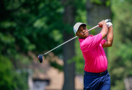 Harold Varner III tees off at the second hole during the Rocket Mortgage Classic at the Detroit Golf Club in Detroit on Friday, June 28, 2019.