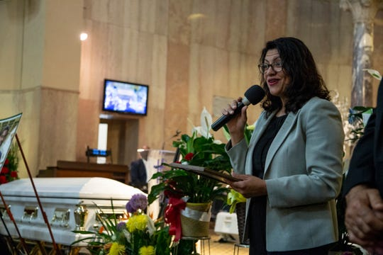 Congresswoman Rashida Tlaib speaks during services that were held at Soul Harvest Ministries in Highland Park for the late former Highland Park mayor Linsey Porter Friday, June 28, 2019.