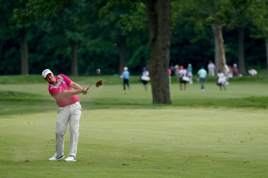 Brian Stuard plays the 14th hole during the second round at Detroit Golf Club on Friday.