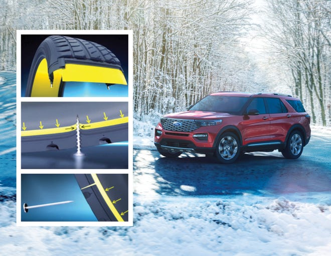 All-new Ford Explorer is available with new Michelin® Selfseal tires lined with an environmentally friendly rubber sealant designed to fill most common tread punctures from nails and screws, dramatically slowing the rate at which air leaks