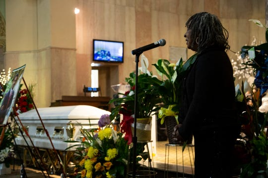 Motown legend Martha Reeves makes some remarks before singing The Lord's Prayer during services that were held at Soul Harvest Ministries in Highland Park for the late former Highland Park mayor Linsey Porter Friday, June 28, 2019.