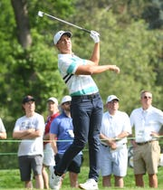 Cameron Champ tees off on No. 9 during Friday's second round.