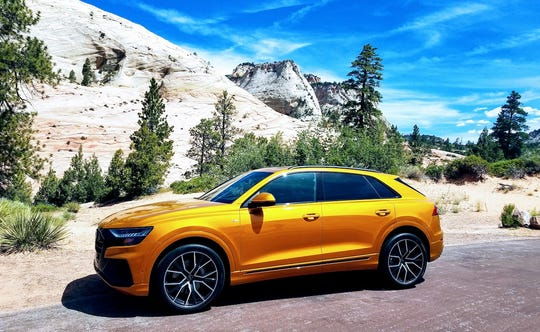 Sitting in Utah's Zion National Park, the 2019 Audi Q8 adds sporty flair to the German brand's range-topping SUV model.