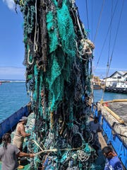 A large net that was removed from the ocean during the Pacific gyre cleanup in Honolulu.