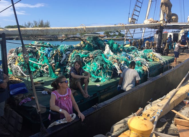 Nets brought in by the sailing ship Kwai from the Pacific gyre cleanup in Honolulu.