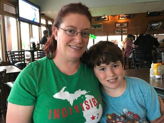 Beth Bowen with her 10-year-old son Sam Bowen