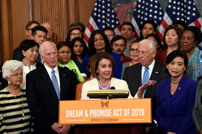 House Speaker Nancy Pelosi of Calif., speaks during an event on Capitol Hill in Washington, Tuesday, June 4, 2019, with those with Deferred Action for Childhood Arrivals (DACA), Temporary Protected Status (TPS) and Deferred Enforced Departure (DED) and similarly situated immigrants who have spent much of their lives in the United States.
