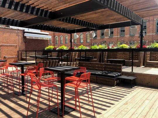 The rooftop lounge area at Delmar in Greektown