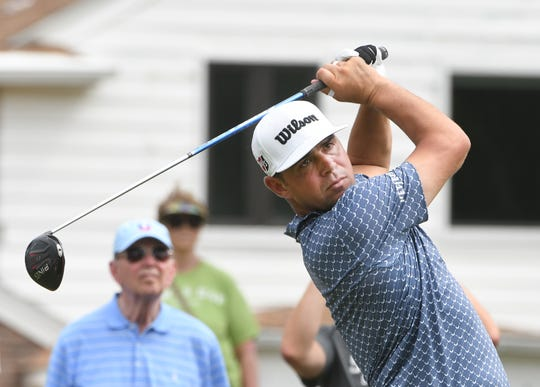 Gary Woodland drives off the No. 6 tee on Friday.