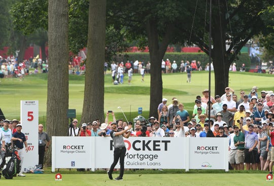 Dustin Johnson hits off the tee on No. 5 during the second round Friday.