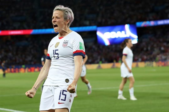 United States' Megan Rapinoe celebrates after scoring her second goal against France on Friday.