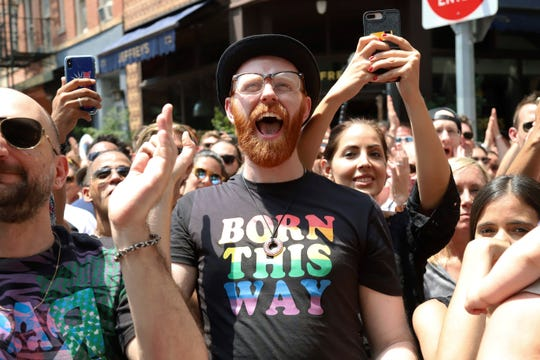 Crowds participate in the second annual Stonewall Day honoring the 50th anniversary of the Stonewall riots, hosted by Pride Live and iHeartMedia, in Greenwich Village, Friday, June 28, 2019, in New York.