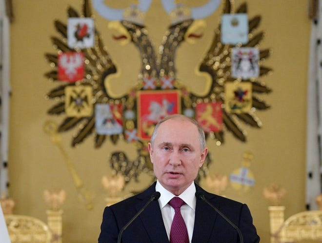 Russian President Vladimir Putin speaks during a reception for graduates of Russian military education institutions in the Kremlin in Moscow, Russia, on Thursday, June 27, 2019.
