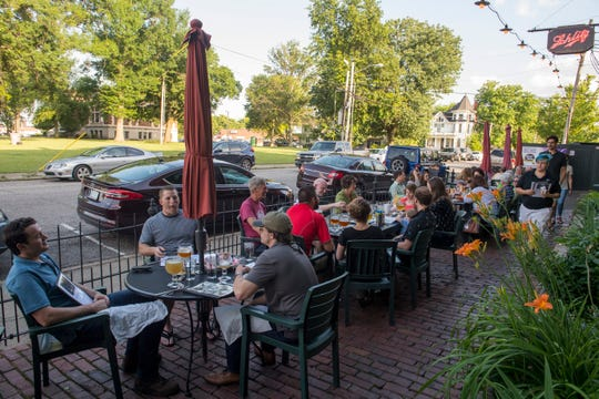 Customers dine on the patio at Gerst Bavarian Haus Thursday, May 30, 2019