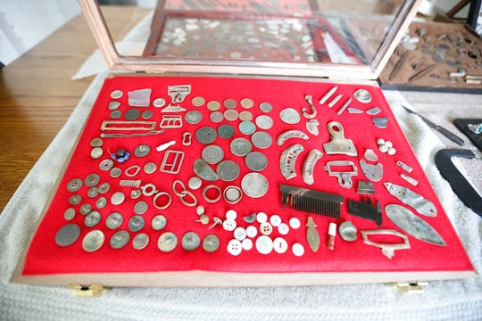 A collection of items John Ruth has found with his metal detector. Doug Raflik/USA TODAY NETWORK-Wisconsin