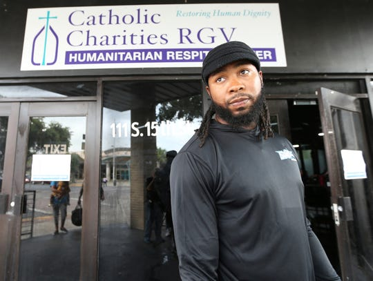 Washington Redskins cornerback Josh Norman is shown outside the Humanitarian Respite Center in McAllen, Texas, where he donated $18,000 on Thursday, June 27, 2019. (Delcia Lopez/The Monitor via AP)