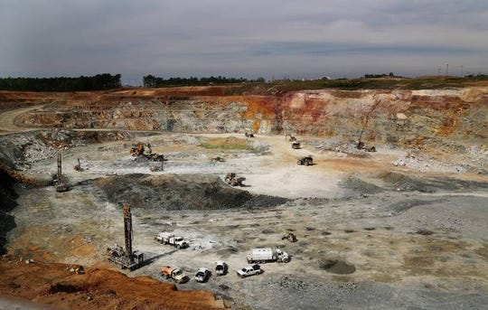 The historic Haile Gold Mine, in Lancaster County, is now owned by OceanaGold, a global gold mining company. Pictured is one of the mine pits. These pits will be opened and then backfilled in a sequence throughout the life of the mine.