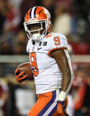 Clemson running back Travis Etienne (9) has rushed for more than 2,400 yards with 37 touchdowns in his first two seasons.