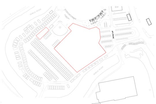 An updated map of the Clemson Jervey Meadows RV lot. The large red outline is the softball stadium construction wall.