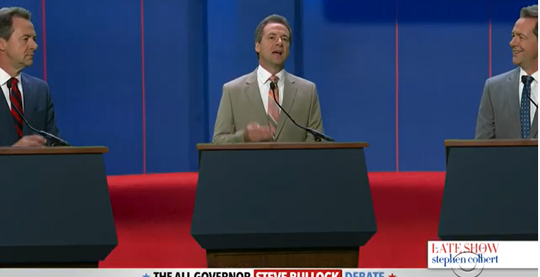 "Gov. Steve Bullock talks while other Govs. Steve Bullock look on Thursday in ""Late Show with Stephen Colbert"" parody of Democratic candidates debates."