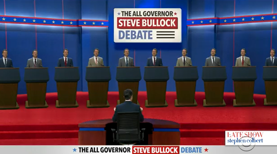 "Ten Gov. Steve Bullocks face off in a debate on the ""Late Show with Stephen Colbert."""