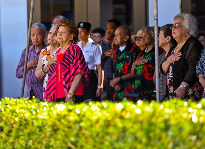 A flag raising ceremony was held to honor Guam liberation war survivors on the lawn of the Guam Congress Building in Hagåtna on Friday, June 28, 2019.