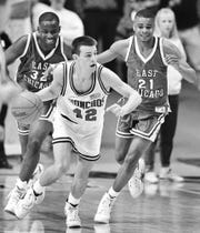 Jefferson High School's Richie Hammel in action against East Chicago in the Boy's Semi State March 25, 1992.