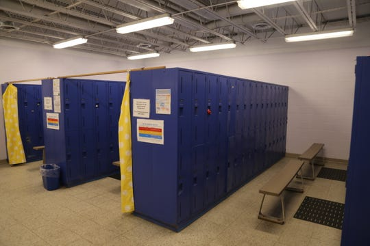 This is what the girls locker room at the YMCA of Ithaca and Tompkins County currently looks like. It will be renovated so that there will be changing pods located at the ends of the locker rooms changing area.