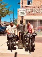 "Joshua and Jacob Wall are ""standin' on the corner in Winslow, Arizona"" — as The Eagles would sing — on their way to California before turning toward Canada."