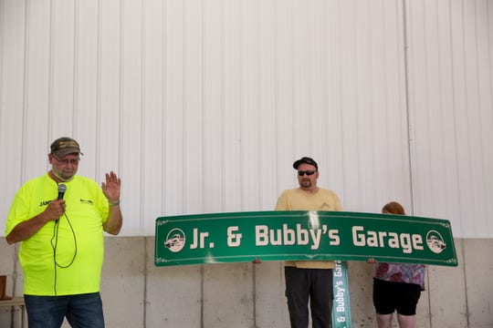 "James ""Bubby"" Hedden speaks after learning the new Street and Sanitation building was named in his and his father's honor, Friday, June 28, 2019 in West Lafayette. Elisha ""Junior"" Hedden, James' father, and James ""Bubby"" Hedden combined for 67 years of service with the West Lafayette street and sanitation department."